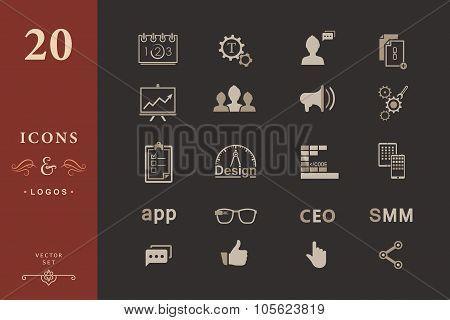 Set Of Modern Icons App, Seo, Smm