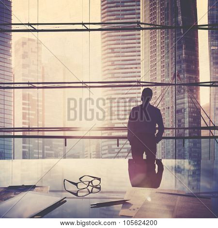 City Scape Businessman Leader Thinking Concept