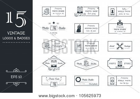 Set Of Vector Photo Logo And Badges