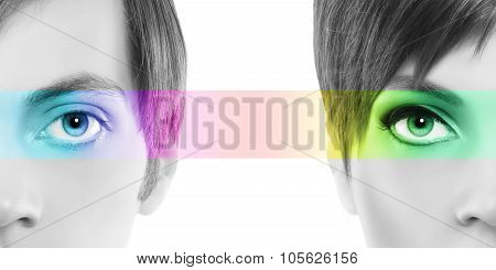 Oculistic Concept, Portrait Half Woman Half Man, Eyes Colorful Rainbow