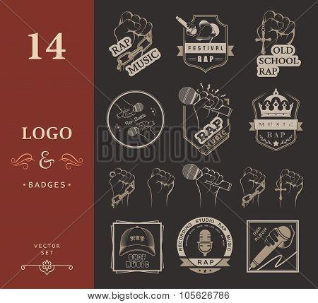 Set Logo And Badges Rap Music