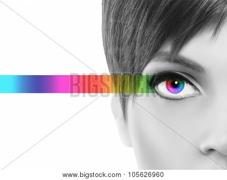 Oculistic Concept, Black And White Portrait Half Woman, Eyes Colorful Rainbow