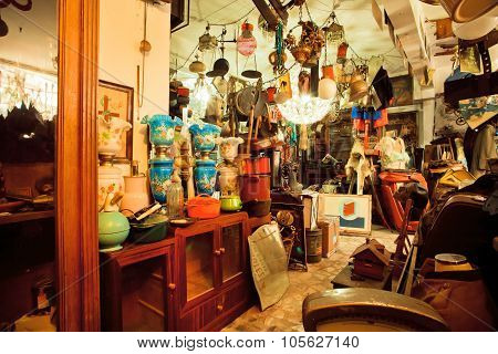 Vintage furniture and antiques in popular second hand store
