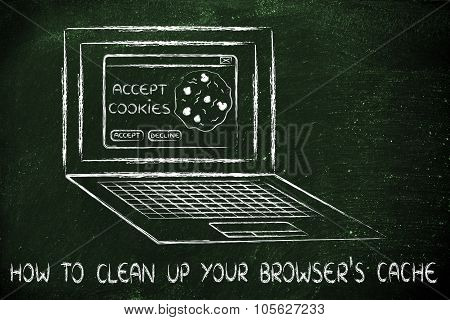 Laptop With Message About Cookies And Text How To Clean Up Your Browser's Cache