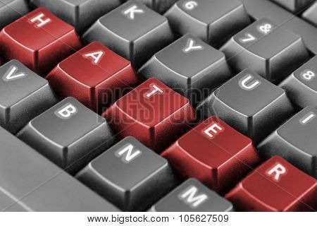 Word Hater Written With Red Keyboard Buttons