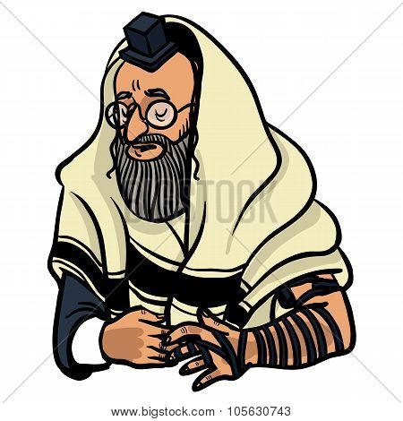 Jewish Man Praying And Put On Tfilin