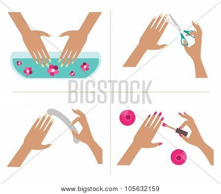 Illustration successive stages manicure on a white background poster