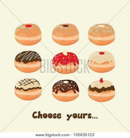 Hanukkah doughnut . Traditional jewish holiday food.