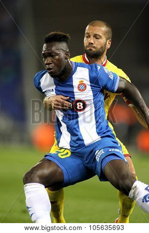 BARCELONA - OCT, 3: Felipe Caicedo of RCD Espanyol during a Spanish League match against Sporting Gijon at the Power8 stadium on October 3 2015 in Barcelona Spain