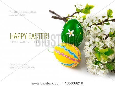 Easter eggs with blooming branch. Isolated on white background. Illustration
