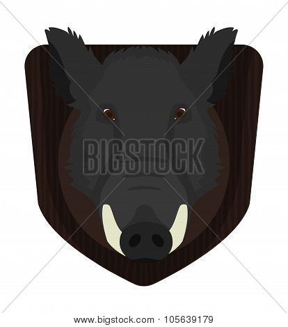 Hunting Trophy. Wild Boar Head On Wood Shield