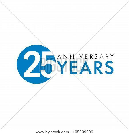 25 years old round logo. Anniversary year of 25 th vector key numbers. Greetings, ribbon, celebrates. Celebrating 2nd, 5th place idea. Colored traditional digital logotype of ages or % off.
