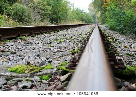 Infinite Abandoned Steel Rail Track Without Train