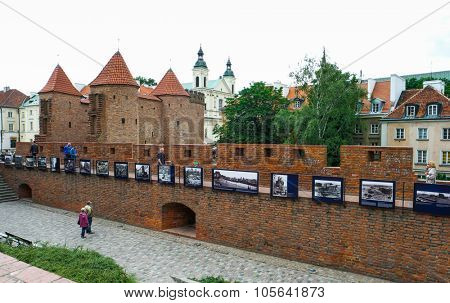 Warsaw, Poland - 8 March 2015:  fortified medieval outpost Barbakan in Warsaw in Poland