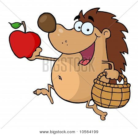 Happy Hedgehog With An Apple And Basket poster