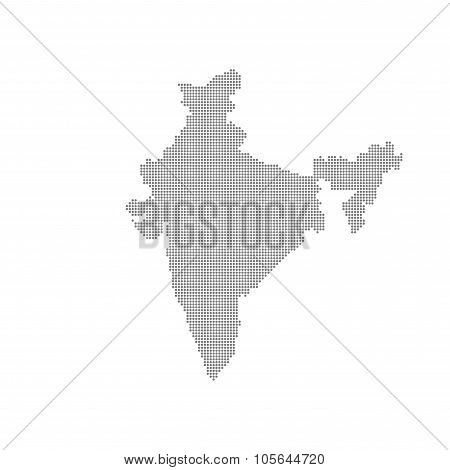 Grey Map India In The Dot . Vector illustration