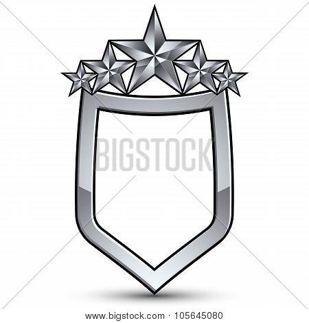 Festive Vector Emblem With Silver Outline And Five Pentagonal Stars, 3D Royal Conceptual Design Elem