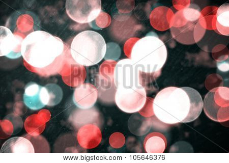 Digitally generated twinkling light design on black background poster