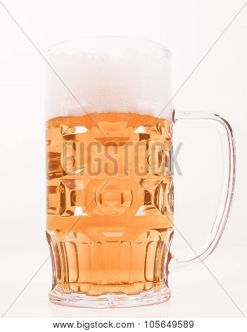 Vintage looking A large glass of German lager beer poster