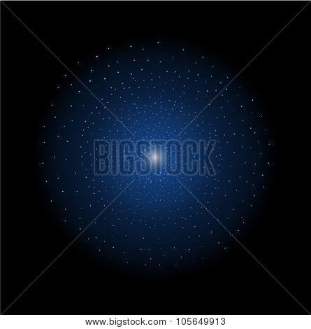 Star shining. Dark blue