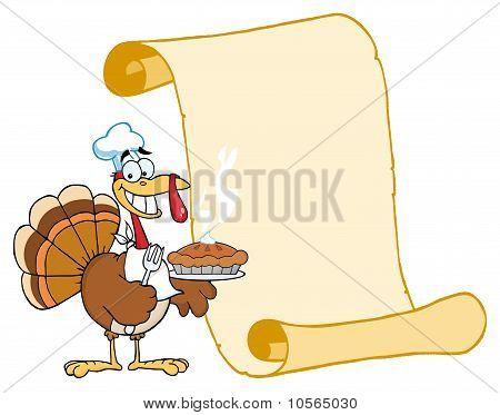 Happy Thanksgiving Turkey Bird Holding A Pie By A Blank Menu Scroll poster