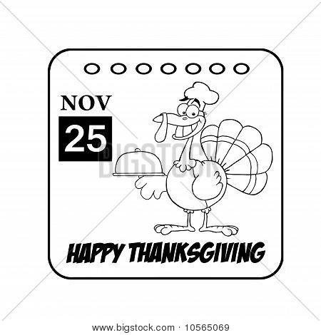 Happy Thanksgiving November 25th Calendar With A Turkey Bird poster