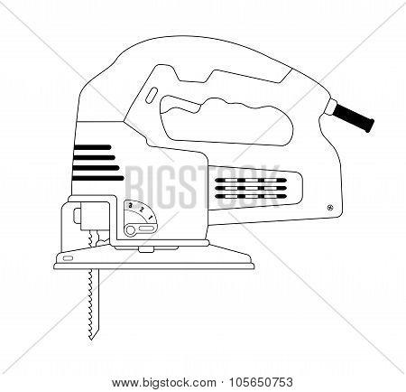 Electric carpentry jig saw tool. Contour
