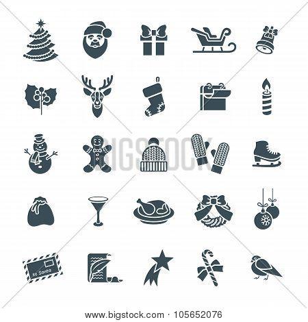 Christmas Symbols Flat Vector Silhouette Icons Set