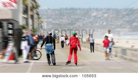 Couple Rollerblading