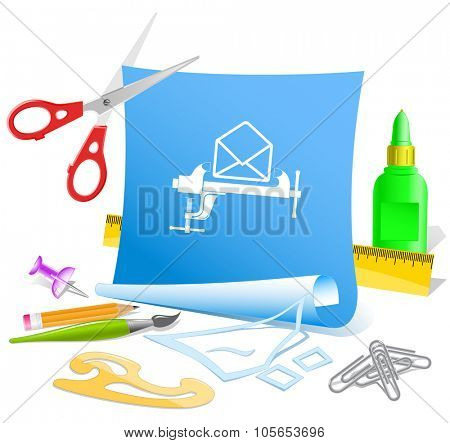 open mail with clamp. Paper template. Raster illustration. poster