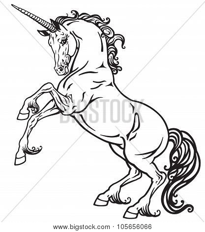 unicorn black and white