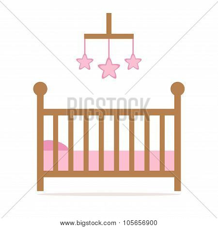 Cot. Cot icon. Little baby crib. Pink crib details.