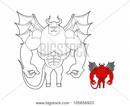 Devil Coloring Book. Red Demon With Wings And Horns. Helluva Terrible Satan With Big Muscles. Bodybu