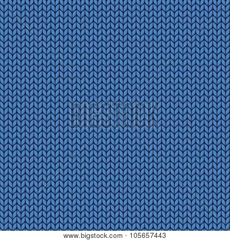 Knitted Blue Texture. Knit From Wool Seamless Pattern. Stitches Of Thread.