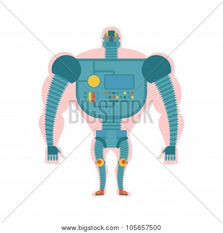 Bio Robot Structure. Man With  Cybernetic Exoskeleton. Cyborg Human Body. Robot Man. Mechanical Skel