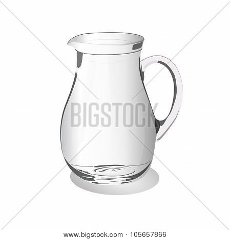 Glass jug isolated on a white background, vector illustration
