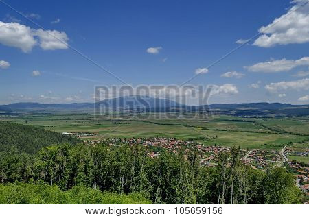 View from St. Spas hill to mountain Vitosha and Plana