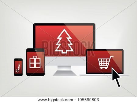 Computer, Phone, Laptop Screens With Christmas Shopping Icons And Mouse Arrow