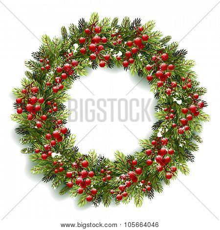 Christmas wreath with red berries and snow isolated on white background. Vector illustration
