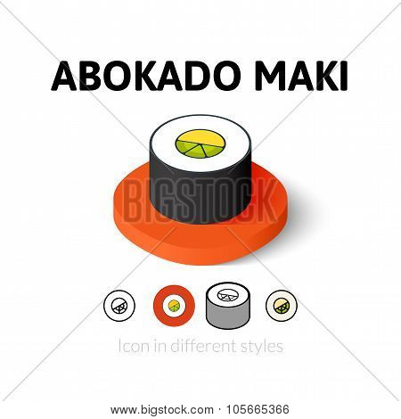 Abokado maki icon in different style