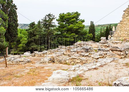 Ancient ruins of Knossos palace, largest Bronze Age archaeological site on Crete, Heraklion, Greece,