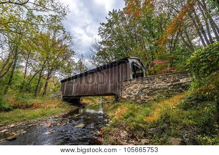 Pennsylvania Covered Bridge In Autumn