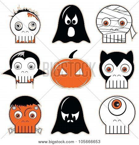 Halloween  icons set 3 including scary, spooky ghosts and pumpkin, , mummy, cyclops, vampire, Monster, zombie and werewolf in black white and orange poster