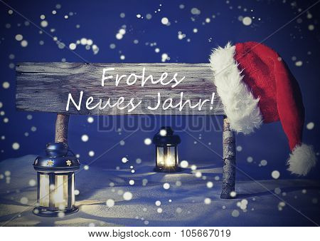 Vintage Christmas Card, Sign, Frohes Neues Jahr Means New Year