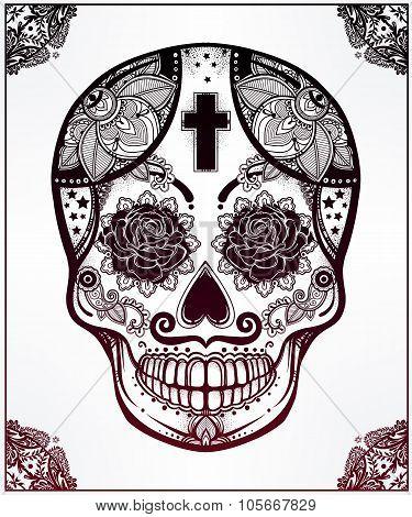 Sugar skull in floral frame illustration.