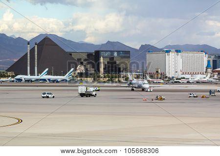 View across airport tarmac at Las Vegas