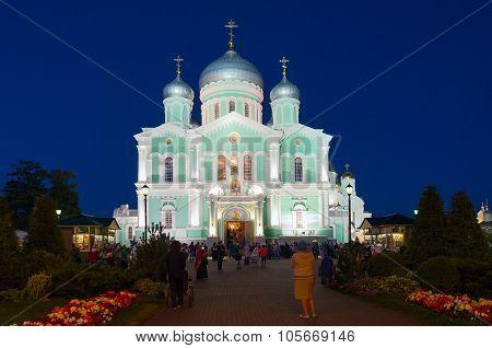 Trinity Cathedral In Night Illumination, Holy Trinity Seraphim-diveevo Nunnery, Russia