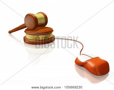 Gavel Mallet And Computer Mouse