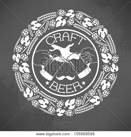Illustration of decorative monochrome craft beer logo poster
