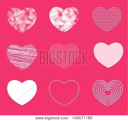 Hearts simple, shaded and broken in 9 different shapes. Vector illustration. hand drawn style